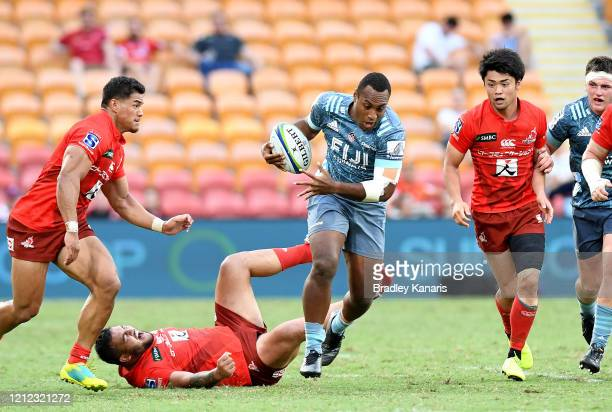 Manasa Mataele of the Crusaders breaks through the defence during the round seven Super Rugby match between the Sunwolves and the Crusaders at...