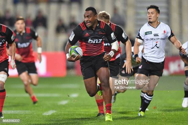 Manasa Mataele of the Crusaders charges forward during the round eight Super Rugby match between the Crusaders and the Sunwolves at AMI Stadium on...