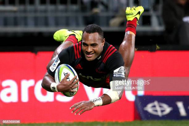 Manasa Mataele of the Crusaders dives over to score a try during the Super Rugby match between the Canterbury Crusaders and Japan's Sunwolves in...
