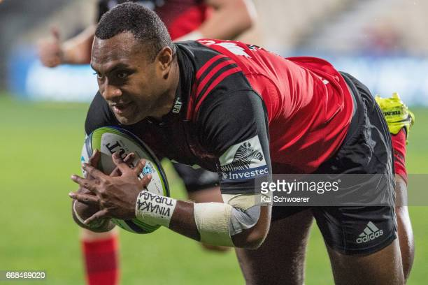 Manasa Mataele of the Crusaders dives over to score a try during the round eight Super Rugby match between the Crusaders and the Sunwolves at AMI...