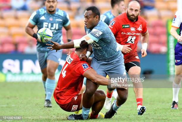 Manasa Mataele of the Crusaders offloads during the round seven Super Rugby match between the Sunwolves and the Crusaders at Suncorp Stadium on March...