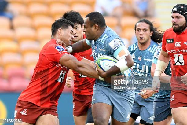 Manasa Mataele of the Crusaders pushes away from the defence during the round seven Super Rugby match between the Sunwolves and the Crusaders at...