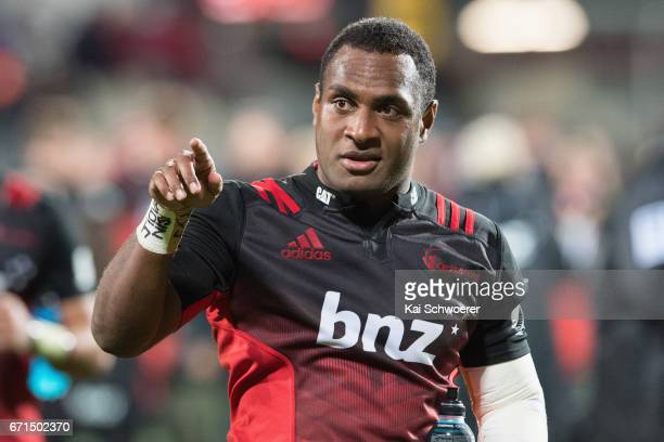 Manasa Mataele of the Crusaders reacting following the round nine Super Rugby match between the Crusaders and the Stormers at AMI Stadium on April 22...