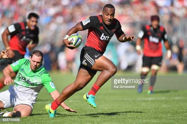 Manasa Mataele of the Crusaders runs through to score a try during the preseason Super Rugby match between the Crusaders and the Highlanders on...