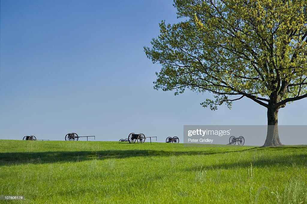 Manasas National Battlefield Park, Cannons and cai : Stock Photo