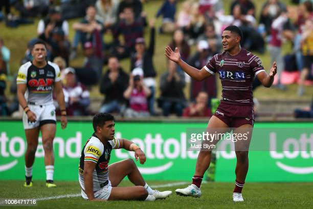 Manase Fainu of the Sea Eagles scores a try during the round 20 NRL match between the Manly Sea Eagles and the Penrith Panthers at Lottoland on July...