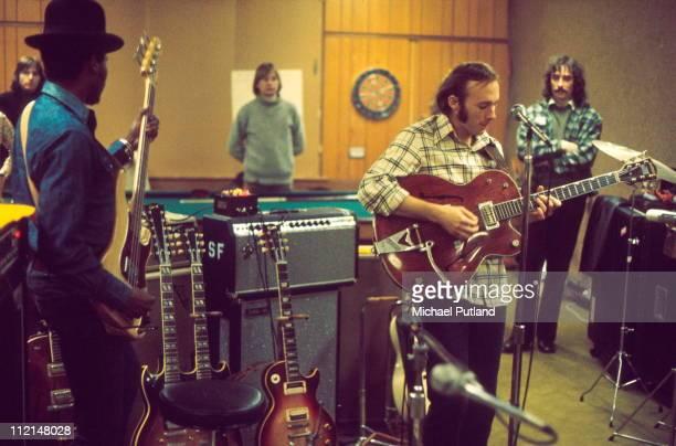 Manassas rehearsing in Guildford March 1972 LR Calvin 'Fuzzy' Samuel Stephen Stills
