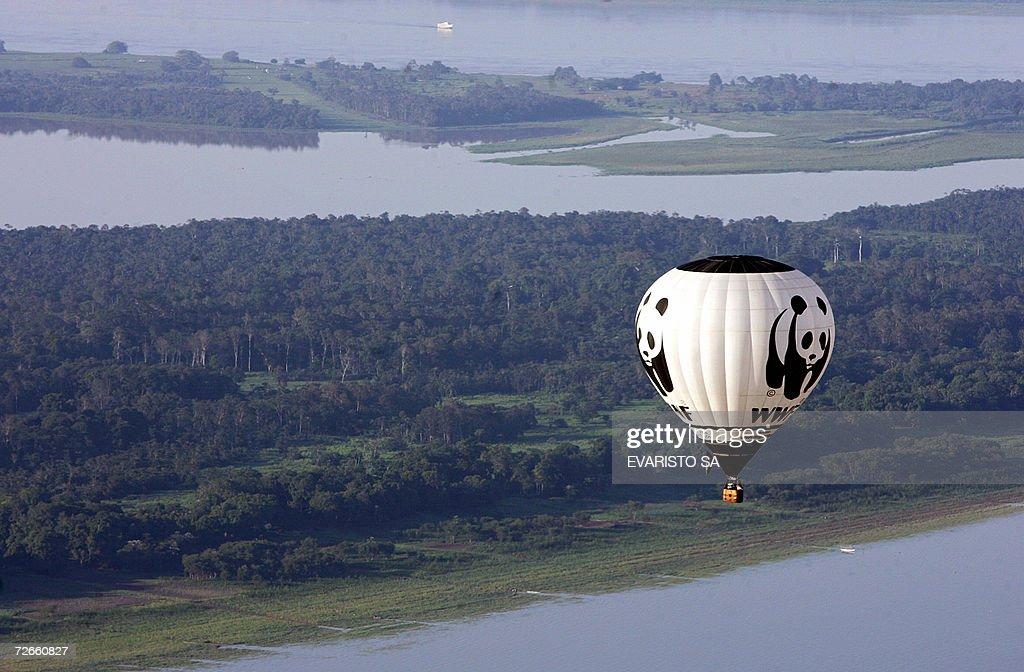 World Wildlife Fund balloon flies over t : News Photo