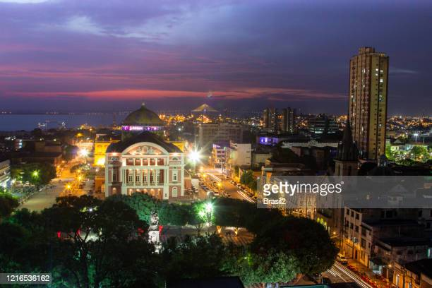 manaus city at night - manaus stock pictures, royalty-free photos & images