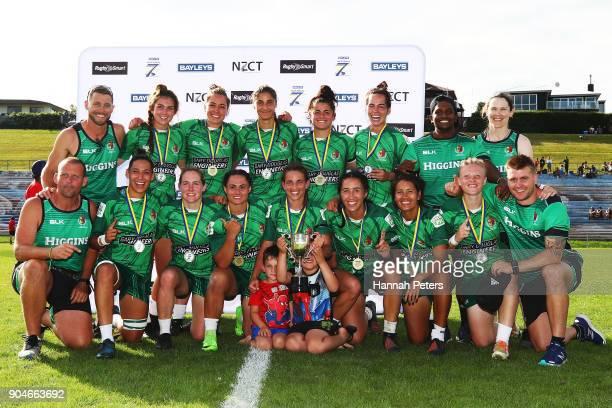 Manawatu celebrate winning the Bayleys National Sevens Women's Cup Final match between Manawatu and Waikato at Rotorua International Stadium on...