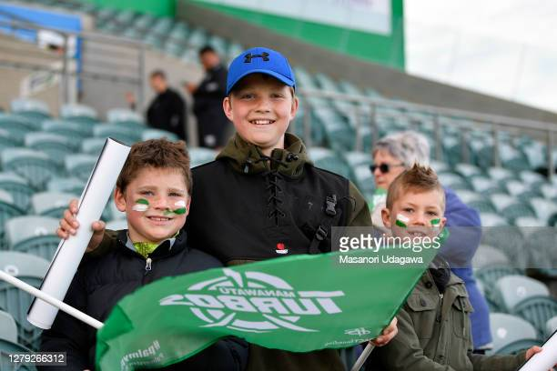 Manawatu fans hold up flag before the round 5 Mitre 10 Cup match between Manawatu and Canterbury at Central Energy Trust Arena on October 09, 2020 in...