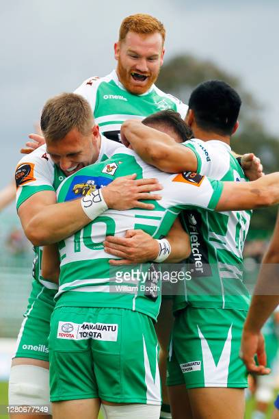 Manawatu players celebrate a try during the round 6 Mitre 10 Cup match between Manawatu and the Bay of Plenty at Central Energy Trust Arena on...