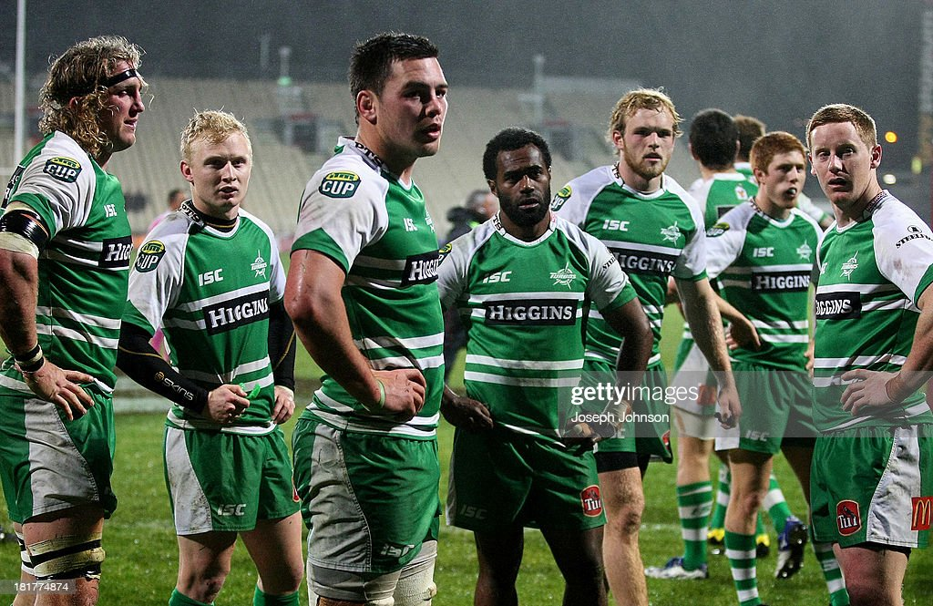 Manawatu players show their dejection after conceding a try during the round 7 ITM Cup match between Canterbury and Manawatu at AMI Stadium on September 25, 2013 in Christchurch, New Zealand.