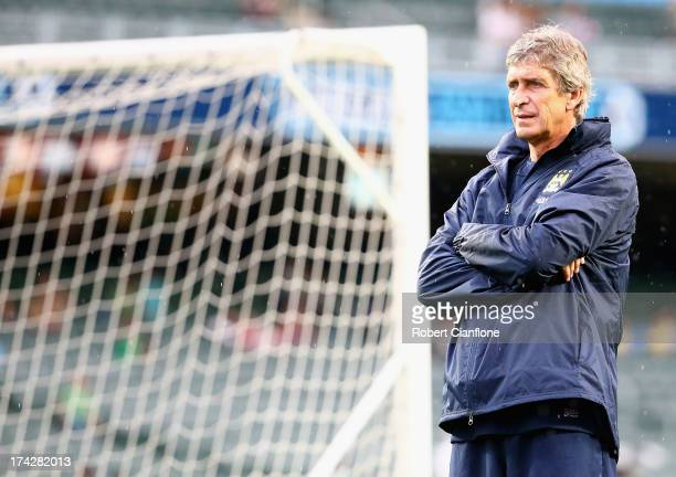 Mancester City coach Manuel Pellegrini looks on Barclays Asia Trophy training session at Hong Kong Stadium on July 23 2013 in So Kon Po Hong Kong