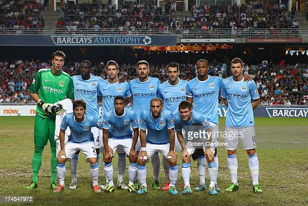 Mancester City line up prior to the Barclays Asia Trophy Final match between Manchester City and Sunderland at Hong Kong Stadium on July 27 2013 in...