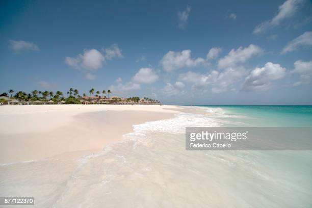 manchebo beach. aruba - aruba stockfoto's en -beelden