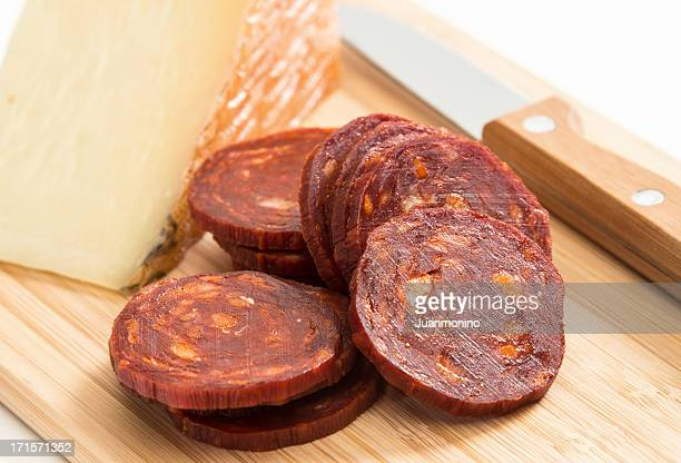 manchego cheese and chorizo - chorizo stock pictures, royalty-free photos & images