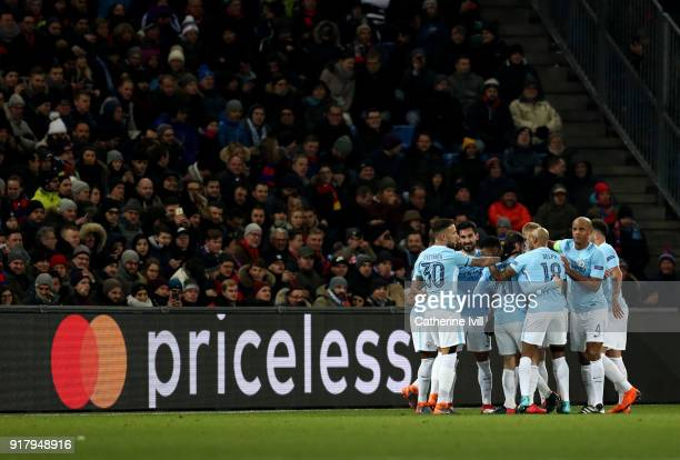 Mancheste City celebrate after scoring a goal during the UEFA Champions League Round of 16 First Leg match between FC Basel and Manchester City at St...