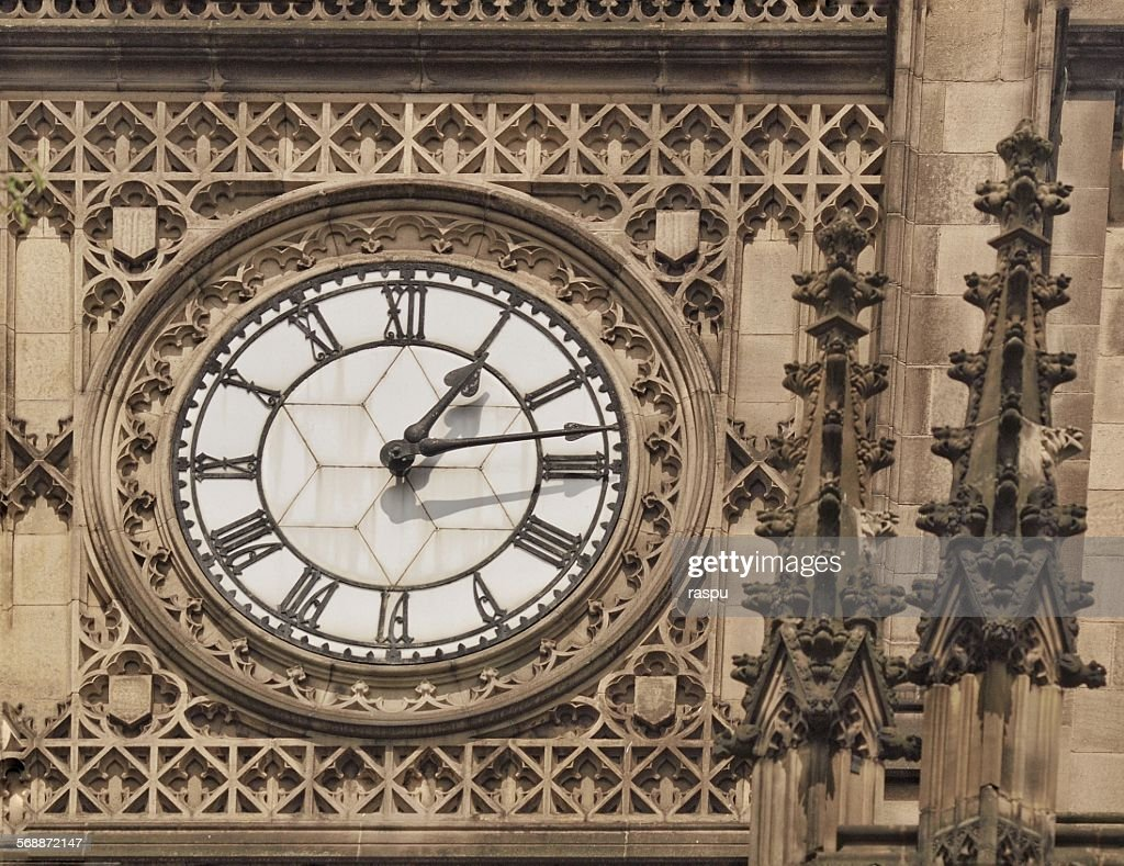 Manchester Cathedral, clock tower : Stock Photo