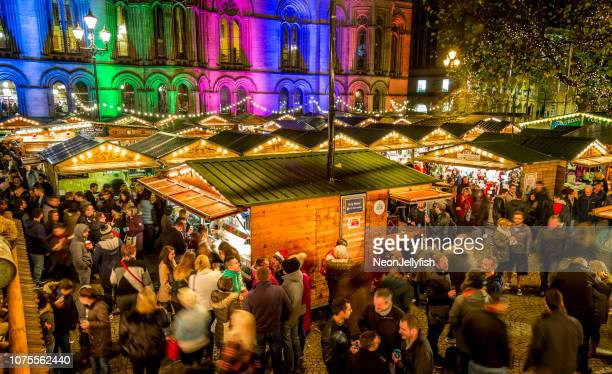 manchester christmas markets - manchester england stock pictures, royalty-free photos & images