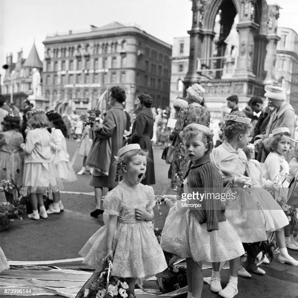 Manchester Church of England Whit Monday walks Angela Lane aged 4 of St Matthews Mission Manchester yawns as she waits to make the walk from Albert...