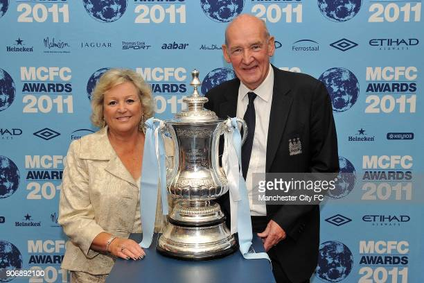 Manchester City 2011 End of Season Awards Eastlands Manchester City life president Bernard Halford and guest with the FA Cup trophy