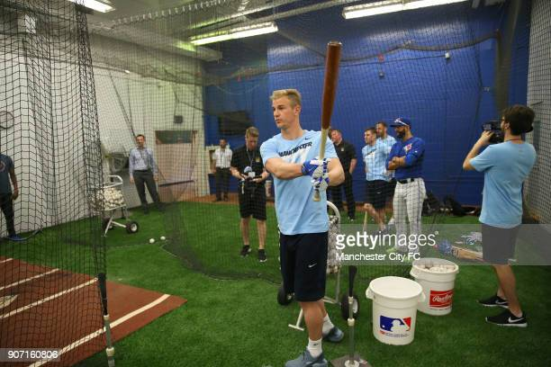 Manchester City 2015 Post Season Tour BlueJays Baseball Team Visit Rogers Centre Toronto Manchester City's Joe Hart strikes a baseball in a practice...