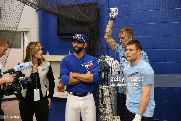 Manchester City 2015 Post Season Tour BlueJays Baseball Team Visit Rogers Centre Toronto Jose Bautista shows Joe Hart and James Milner the batting...