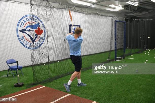 Manchester City 2015 Post Season Tour BlueJays Baseball Team Visit Rogers Centre Toronto Manchester City's Joe Hart hits a ball in the batting cage