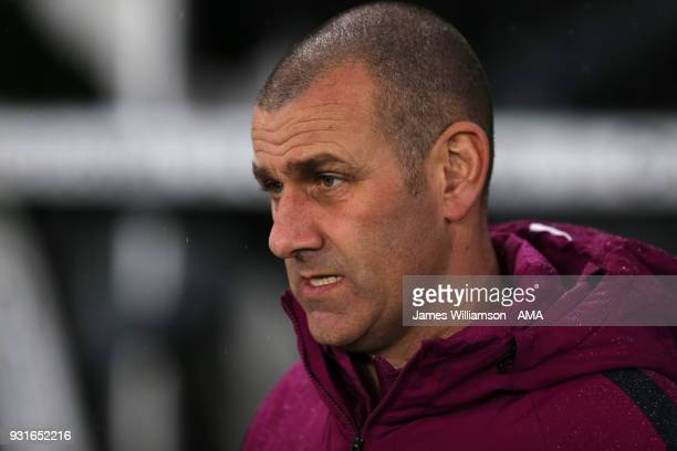 Manchester City academy manager Simon Davies during the Premier League 2 match between Derby County and Manchester City on March 9 2018 in Derby...