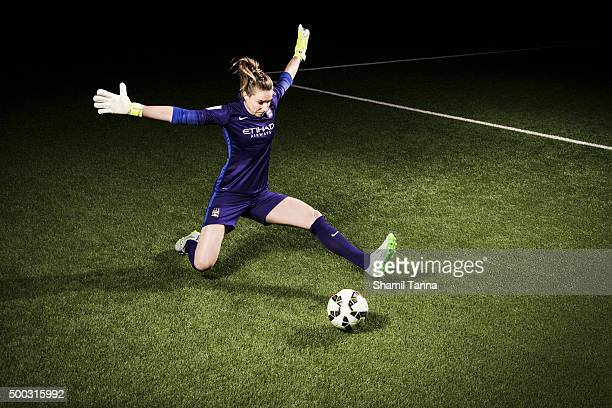 Manchester City and England footballer Karen Bardsley is photographed for the Guardian on July 22 2015 in Manchester England
