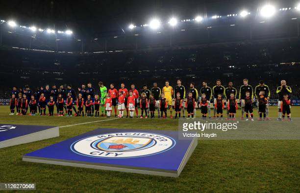Manchester City and FC Schalke 04 players line up prior to the UEFA Champions League Round of 16 First Leg match between FC Schalke 04 and Manchester...