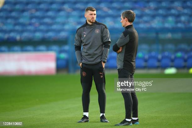 Manchester City assistant head coach Danny Walker during the EFL Trophy match between Mansfield Town and Manchester City U21 at One Call Stadium on...