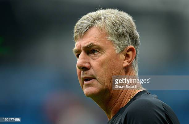 Manchester City Assistant Manager Brian Kidd looks on prior to the Barclays Premier League match between Manchester City and Southampton at Etihad...