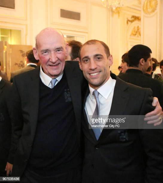 Manchester City Capital One Cup Victory Reception Mandarin Oriental Hotel Manchester City's Pablo Zabaleta with Life President Bernard Halford at the...