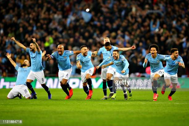Manchester City celebrate after the penalty shootout following the Carabao Cup Final between Chelsea and Manchester City at Wembley Stadium on...