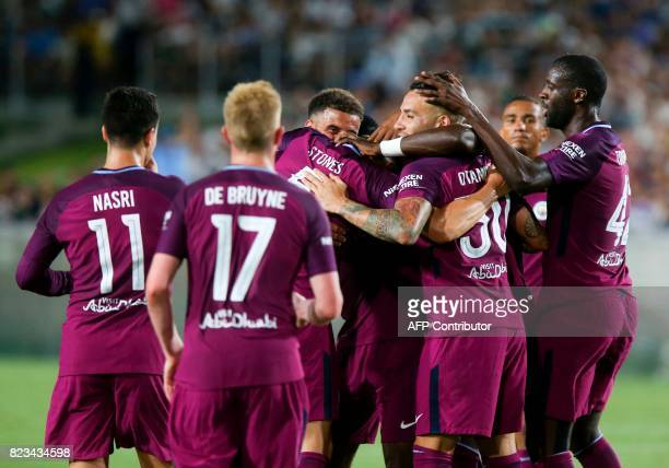 Manchester City celebrate their goal during the second half of the International Champions Cup match against Real Madrid on July 26 2017 in Los...