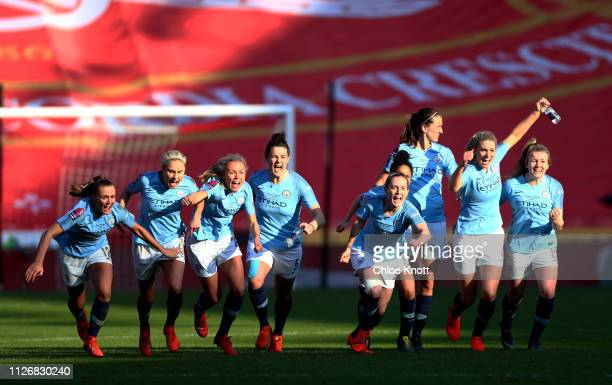 Manchester City celebrate winning in the Continental League Cup Final between Arsenal Women and Manchester City Women at Bramall Lane on February 23...