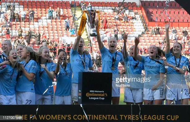 Manchester City celebrate winning the league cup during the FA Women's Continental League Cup Final between Arsenal and Manchester City Women at the...