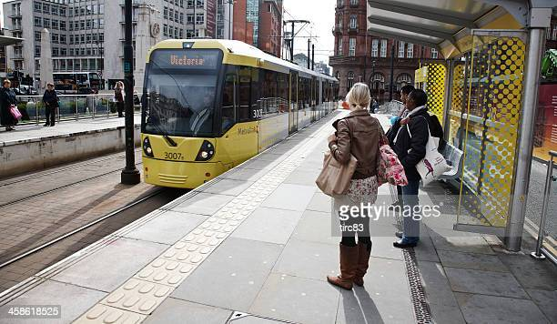 manchester city centre tram - tram stock photos and pictures