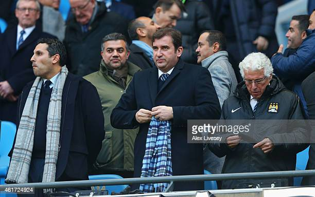 Manchester City Chairman Khaldoon Al Mubarak and Manchester City's Chief Executive Ferran Soriano look on prior to the Barclays Premier League match...