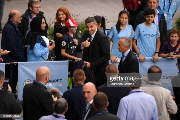 Manchester City Chairman Khaldoon Al Mubarak arrives ahead of the Premier League match between Manchester City and Fulham FC at Etihad Stadium on...