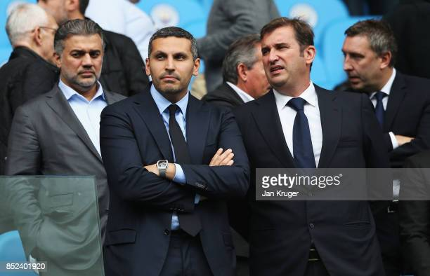 Manchester City chairman Khaldoon Al Mubarak is seen in the stands during the Premier League match between Manchester City and Crystal Palace at...