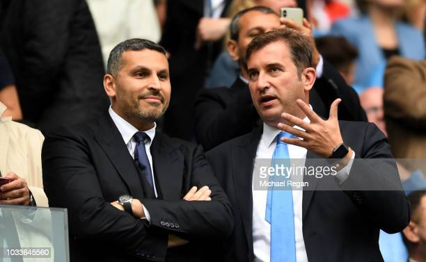 Manchester City chairman Khaldoon Al Mubarak watches on during the Premier League match between Manchester City and Fulham FC at Etihad Stadium on...