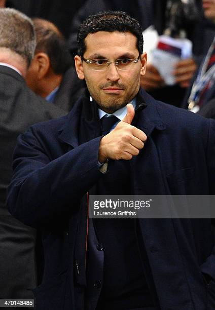 Manchester City Chairman Khaldoon Al Mubarek gives a thumbs up prior to the UEFA Champions League Round of 16 first leg match between Manchester City...