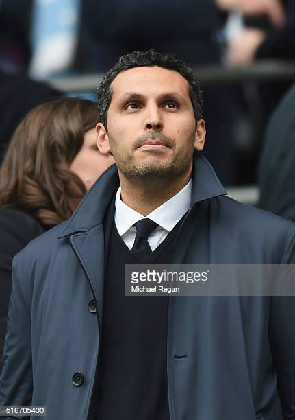 Manchester City Chairman Khaldoon Al Mubarek looks on prior to the the Barclays Premier League match between Manchester City and Manchester United at...