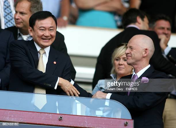 Manchester City chairman Thaksin Shinawatra with West Ham United Chairman Eggert Magnusson