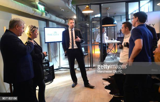 Manchester City City in the City 155 Bar and Kitchen London Speeches during the City in the City event at 155 Bar Kitchen in London ahead of...