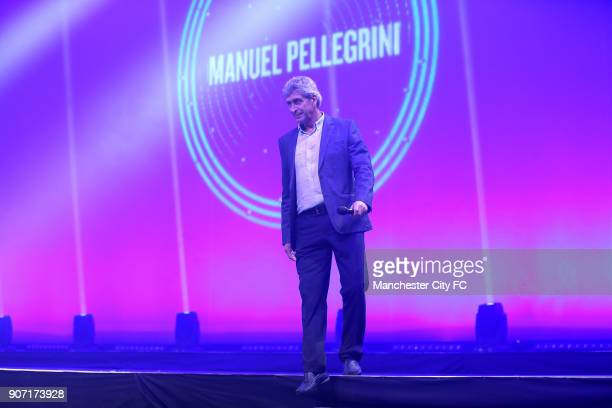Manchester City City Live Manchester Central Manchester City manager Manuel Pellegrini is introduced onto the stage by Sky Sports presenters Natalie...