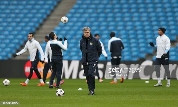 Manchester City coach Brian Kidd during a training session ahead of their UEFA Champions League Round of 16 match 1st leg against Barcelona at Etihad...